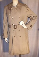 LONDON FOG 36 SHORT 40 BUST TAN BROWN LINING  POCKET DOUBLE BREASTED TRENCH COAT