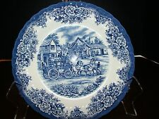 """Blue Royal Stafford Plate - Coach and Village -Scene - England - Approx. 8"""" D"""