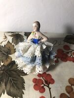 Ireland DRESDEN lace MZ ...Lady Curtsy..Vintage Porcelain Collectable  Figurine