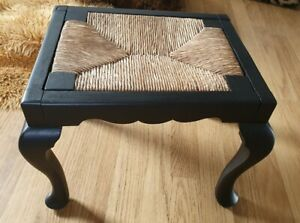 Vintage/antique Wood And Seagrass Weave Foot Stool.
