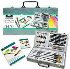 50 PIECE ZEN PAINTING & SKETCHING ARTIST SET BRUSHES PADS PASTELS PAINTS MML4301