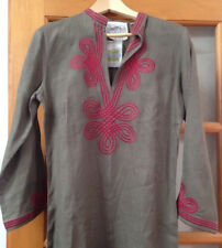 NWT Shajar CJ Laing Irish Linen Embroidered Asian Resort Style Kaftan Dress M 38
