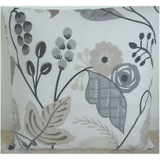"""16"""" Cushion Cover Taupe Beige Grey and Cream Tropical Flowers"""