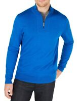 Alfani Mens Sweater Primary Blue Small S Ribbed Placket 1/2 Zip Pullover $75 093
