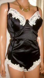 Intimates BLACK Shiny Satin White Lace  Underwired Panty Corselette 40E (EU 90E)