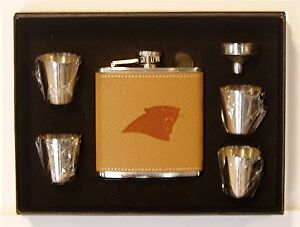 CAROLINA PANTHERS 6 OZ LEATHER ENGRAVED STAINLESS STEEL FLASK W 4 SHOT GLASSES
