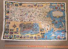 "Large Vintage Massachusetts Cartoon Travel Map World's Fair 21"" x 34"""