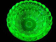 Green Vaseline Clarke Pyramd glass Fairy lamp votive candle holder uranium bowl
