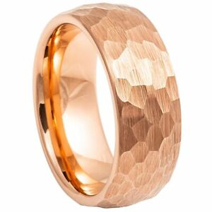 Tungsten Wedding Ring Rose Gold IP Plated Hammered Brushed Domed Band 8mm