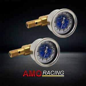 "2 sets 1 1/2"" 100PSI Fuel Pressure Gauge Liquid Filled Fits Honda Acura"