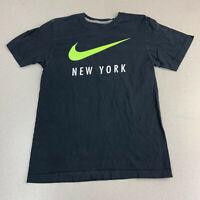 Nike T-shirt Mens Small New York Green Swoosh Black Short Sleeve