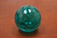 "Reproduction Cracking Turquoise Glass Float Fishing Ball With Hole 3"" #F-458Ch"
