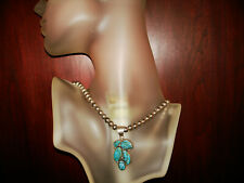 """Amazing Vintage NAVAJO Sterling Silver & Turquoise necklace.925 Signed """"NABIHO""""."""