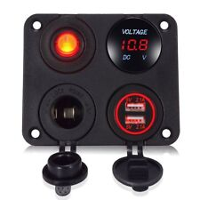 Dual USB Car Charger+LED Voltmeter+12V Power Socket + On-Off Switch 4 Hole Panel