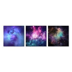 Outer Space Canvas Prints Blue Purple Nebula Galaxy Stars Pictures Wall Art