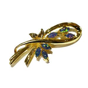 Australian Black Triplet Opal Multi-stone Brooch/ Pin Yellow Gold GP