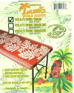"""Hawaiian Fitted Picnic Tablecloth Fits 6 feet 72x30"""" picnic table Luau party"""
