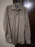 Flying R Ranchwear Ruddock Mens Khaki LS Pearl Snap Western Shirt SIZE 16/36