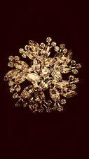 WEISS GOLD TONE LIGHT AMBER CRYSTAL NAVETTE RHINESTONE BROOCH