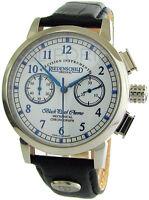 Riedenschild Handaufzug Herrenuhr Schaltrad Chronograph Lederband blaue Zeiger