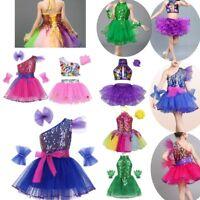 Kids Girls Ballet Dance Dress Costume Sequin Outfit Latin Jazz Modern Tutu Skirt