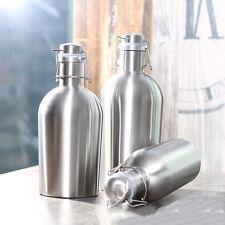 64OZ Premium Stainless Steel Growler Secure Lid Bottle Homebrew Beer Swing Top