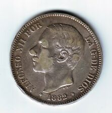ESPAÑA 5 pesetas plata 1882 estrella  *81* variante muy escasa REY ALFONSO XII