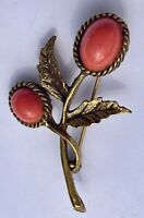 Faux Coral Cabochon Flower Spray Textured Gold Tone Leaves Brooch Pin Vintage