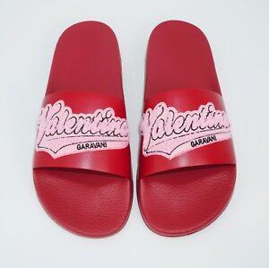 Valentino Garavani Men's Logo Patch Top Slide Sandal, Marine/Stone, MSRP $495