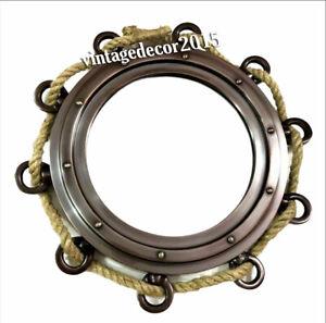 """9"""" Antique Hanging Jute Rope Aluminium Porthole Mirror Home Decorative"""