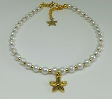 Glass Pearl Beaded Anklet Bohemian Flower Charm Anklet Beach Anklet Gold Tones