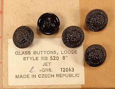 """4 Czech Black Glass Shank Buttons Spiral Textured Dome 3/4"""" 18mm 520"""
