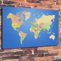 """The World Map Printed Box Canvas Picture A1.30""""x20""""30mm Deep"""