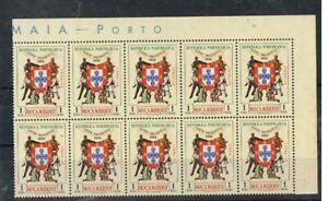 MOÇAMBIQUE - 1956 1 E. VIAGEM PRESIDENCIAL. BLOCO DE 10, MNH