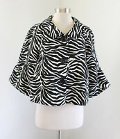 3 Sisters Black White Zebra Print A-Line Swing Jacket Size M Three Sisters