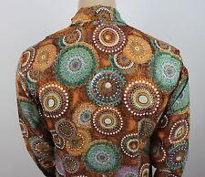Da Uomo Vintage 70s Stile Disco Stampa Fresh Prince PUGNALE colletto della camicia Festival M/L
