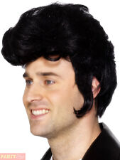 Mens Rockstar Wig Adults 1950s Elvis Fancy Dress Rock n Roll 50s Teddy Accessory