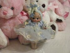 """Antique Bisque Doll Googly Eyes Molded Hair Jointed Arms 7"""" Beautiful Dress"""