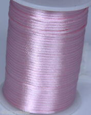 hot 10yard pink 2MM Rattail Satin Cord Macrame Beading Nylon Chinese knot rope