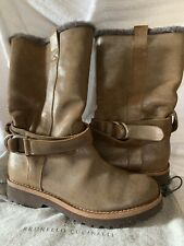 Brunello Cucinelli Metallic Brown/Silver fur lined Womens Boots Size 38