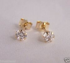 Girls 9ct Gold 3mm Tiny Small ROUND WHITE CLEAR CZ STUD EARRINGS B'day GIFT BOX