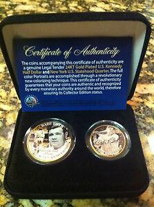 BABE RUTH YANKEES 24KT GOLD JFK HALF DOLLAR & NY U.S STATEHOOD QUARTER! CASE