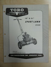 """1954 TORO MOWER OPERATING PARTS MANUAL SPORT LAWN 21"""" AND 18"""""""