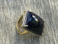 Gold Plated Silver Sapphire and Rhinestones Ring Size 7