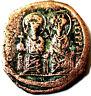 Justin II et Sophie (565-578), Follis An VI ,Constantinople-63.REVERS GRAND M .
