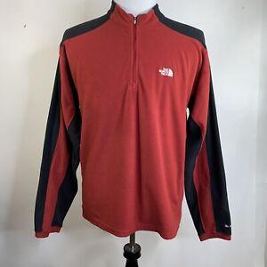 The North Face Mens Fleece Top Jacket Medium TKA 100 Red Black 1/4 Zip