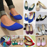 Womens Solid Flat Pumps Lady Suede Pointed Toe Ballet Dolly Bridal Comfort Shoes