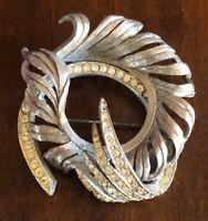 Coro Brushed Silver Modern Swirl & Rhinestone Large Brooch Pin
