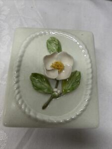 Wildwood Ceramics, Pasadena CA. Trinket, Jewelry Box,  Applied Camellia