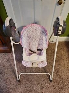Vintage Cosco beginning Baby Swing  Open Top Easy Entry 5 -Speed pink  Fabric